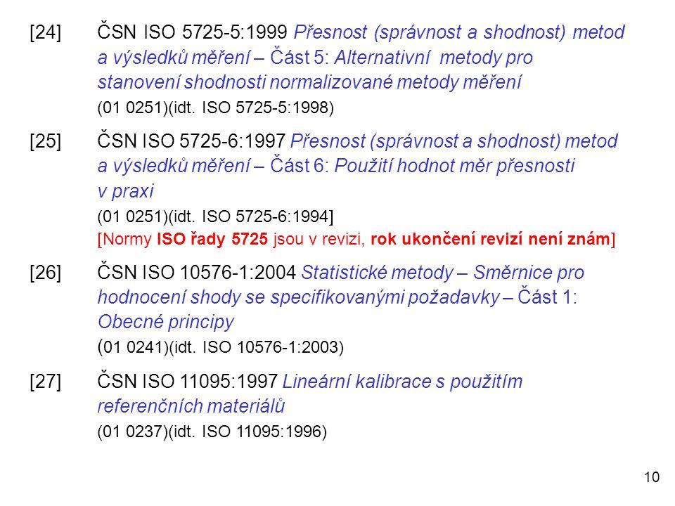 [24]. ČSN ISO 5725-5:1999 Přesnost (správnost a shodnost) metod